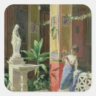En un patio en Pompeya, 1878 Pegatina Cuadrada