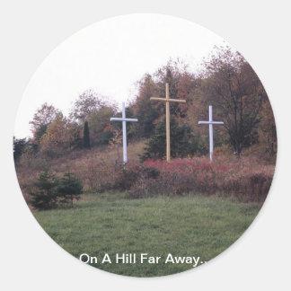 En una colina lejos… pegatina redonda