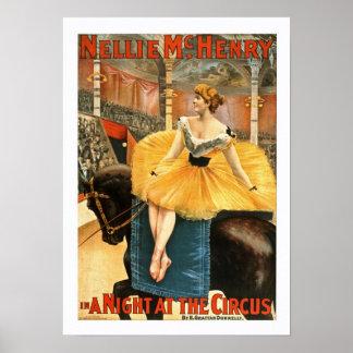 En una noche en el poster del vintage del circo