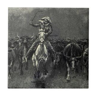 En una precipitación del vaquero del vintage de teja  ceramica