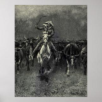 En una precipitación del vaquero del vintage de Fe