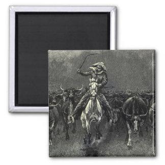 En una precipitación del vaquero del vintage de imanes de nevera