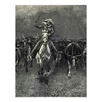 En una precipitación del vaquero del vintage de invitacion personal