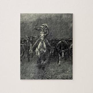 En una precipitación del vaquero del vintage de puzzle