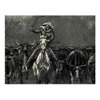En una precipitación del vaquero del vintage de postal