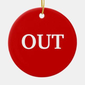 en verde hacia fuera rojo adorno navideño redondo de cerámica