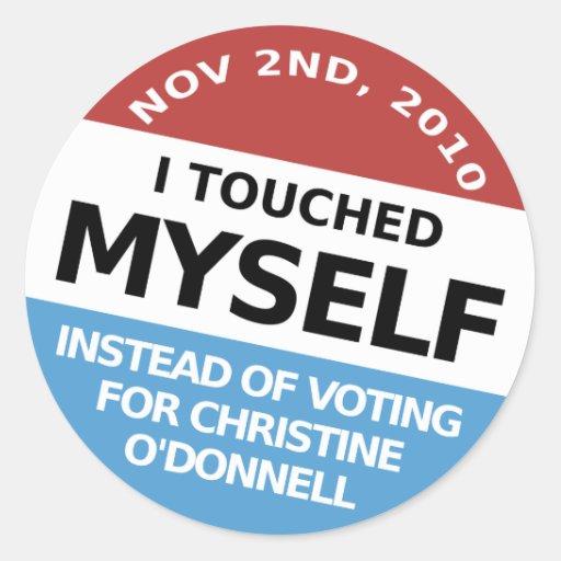 … En vez de la votación por Christine O'Donnell Pegatina Redonda