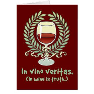 En vino es la verdad tarjeta de felicitación