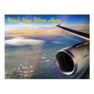 En vuelo - deseo usted estaba aquí - postal