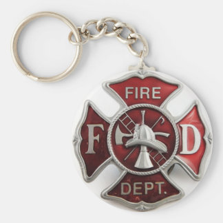 'enamel' fire dept insignia basic round button keychain