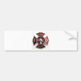 'enamel' fire dept insignia bumper sticker