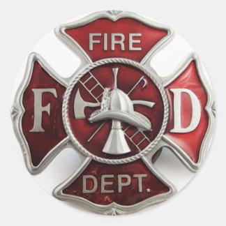 'enamel' fire dept insignia classic round sticker