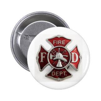 'enamel' fire dept insignia pinback button