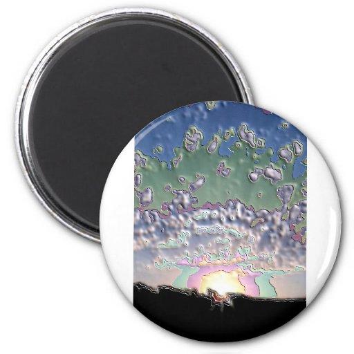 Enamel Setting sun 2 Inch Round Magnet