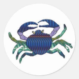 Enameled Blue Crab Round Sticker