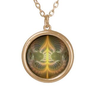 Enameled Brass Tray Round Pendant Necklace