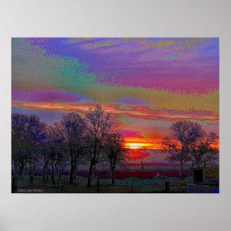 Enameled Sunrise of Northern California Print