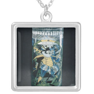 Enamelled decoration of a Hunter and a Woman Square Pendant Necklace