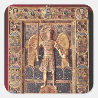 Enamelled plaque depicting the Archangel Michael Square Sticker