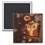 Enamored Owl 2 Inch Square Magnet