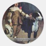 Enano de la corte con un perro de Diego Velázquez Pegatinas Redondas