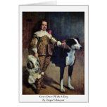 Enano de la corte con un perro de Diego Velázquez Tarjeton