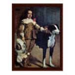 Enano de la corte con un perro de Diego Velázquez Postales