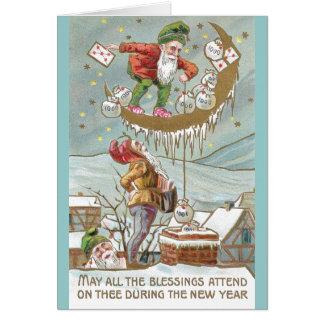 Enanos con los sacos de Año Nuevo del vintage del  Tarjeta De Felicitación