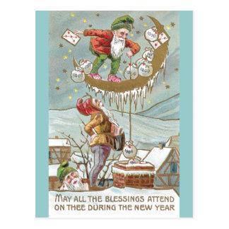 Enanos con los sacos de Año Nuevo del vintage del Tarjeta Postal