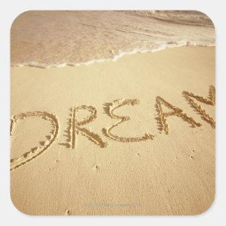Enarene la escritura sueño con resaca entrante e calcomanías cuadradas