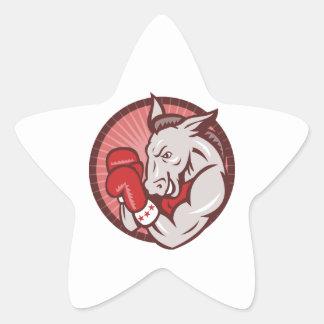 Encajonamiento del boxeador de la mascota del pegatinas forma de estrellaes personalizadas