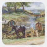 Encampment gitano, Appleby, 1919 Pegatina Cuadrada