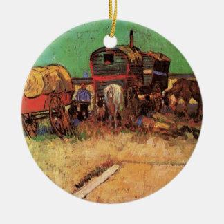 Encampment of Gypsies Caravans by Vincent van Gogh Ceramic Ornament