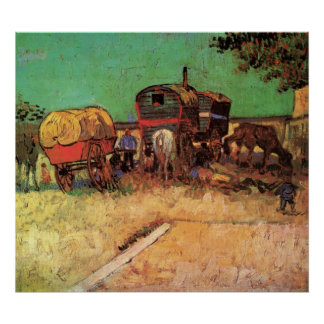 Encampment of Gypsies w Caravans Vincent van Gogh Print