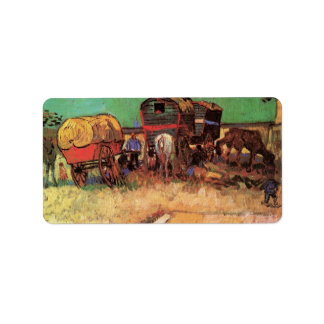 Encampment of Gypsies with Caravans by van Gogh Address Label