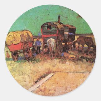 Encampment of Gypsies with Caravans by van Gogh Round Stickers