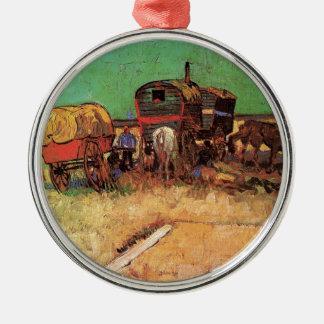 Encampment of Gypsies with Caravans, Van Gogh Metal Ornament