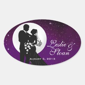 Encantado igualando favor del boda de la noche pegatina ovalada