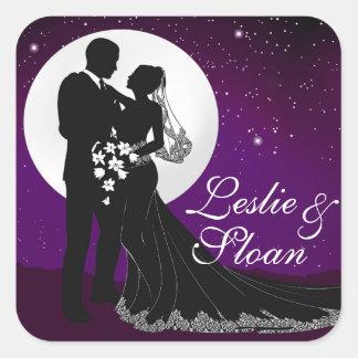 Encantado igualando la noche que casa la púrpura pegatina cuadrada