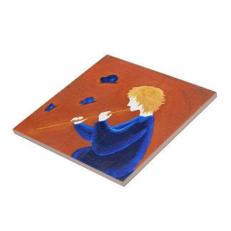 Encantador de la mariposa azulejo cuadrado pequeño