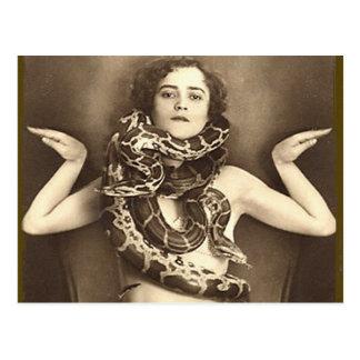 Encantador de serpiente retro del acto secundario  tarjetas postales