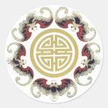 Encanto afortunado del chino de la longevidad pegatina redonda