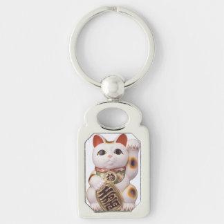 Encanto afortunado del gato llavero plateado rectangular