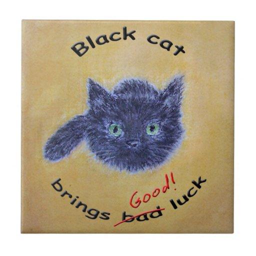 Encanto afortunado del gato negro azulejo cuadrado pequeño