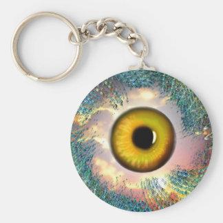 Encanto afortunado del ojo de oro llavero redondo tipo pin