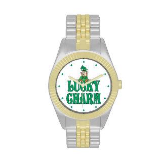 Encanto afortunado del pequeño Leprechaun Relojes De Pulsera
