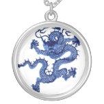 Encanto azul de la joyería del vintage del arte de