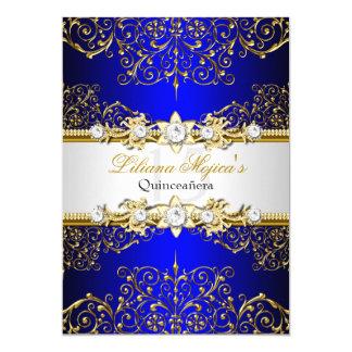 """Encanto azul Quinceanera del vintage del oro Invitación 5"""" X 7"""""""