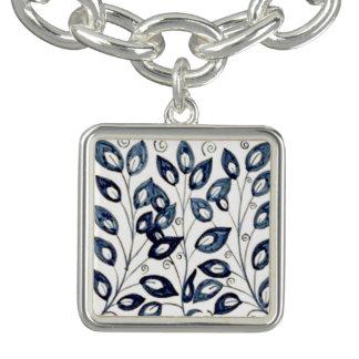 Encanto azul y blanco de William Morris de la teja Pulsera