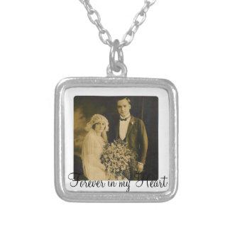 Encanto conmemorativo de la foto para casar el colgante cuadrado